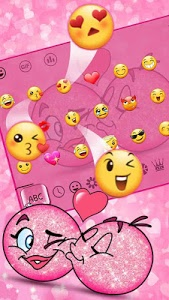 screenshot of 3D Valentine Love Emoji Keyboard Theme version 10001007