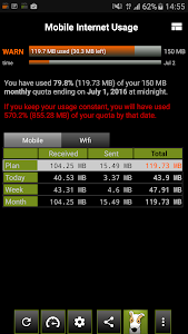 screenshot of 3G Watchdog - Data Usage version Varies with device