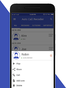 screenshot of Auto Call Recoder version 1.0.4