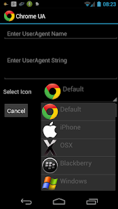 screenshot of User Agent for Google Chrome (root required) version 2.6.7