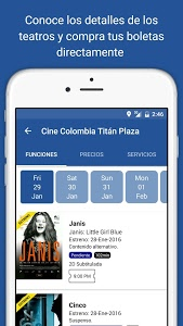 screenshot of Cine Colombia S.A. version 1.70