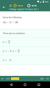 screenshot of College Algebra Practice, Prep version 1.6.5