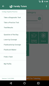 screenshot of College Algebra: Practice Tests and Flashcards version 1.7.1.1