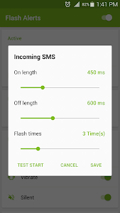 screenshot of Flash Alerts on Call and SMS version 3.9