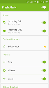 screenshot of Flash Alerts on Call and SMS version 3.96