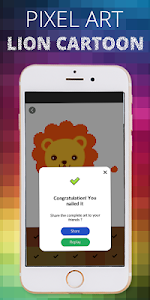 screenshot of Lion Cartoon Pixel Coloring By Number version 1.0