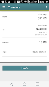 screenshot of Pen Air FCU Mobile version 5.10.2.0