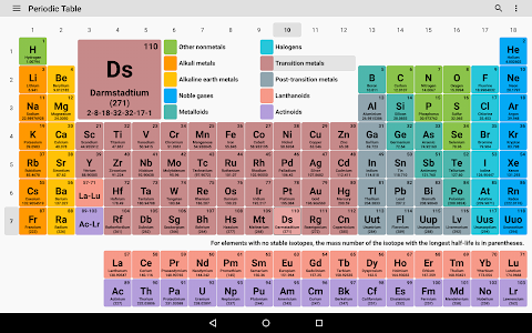screenshot of Periodic Table 2019. Chemistry in your pocket. version 6.5.0