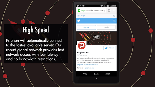 screenshot of Psiphon version Varies with device