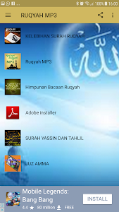 screenshot of RUQYAH MP3 version 1.0