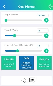 screenshot of SIP Calculator - Your Mutual Fund Investment Guide version 1.6