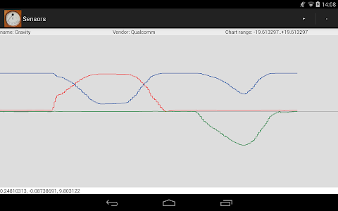 screenshot of Sensors Reader version 1.24