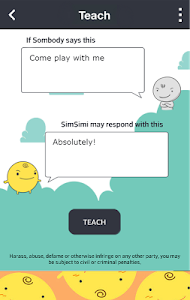 screenshot of SimSimi version 6.7.7.8