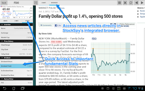 screenshot of Stocks: Realtime Quotes Charts & Investor News version Varies with device
