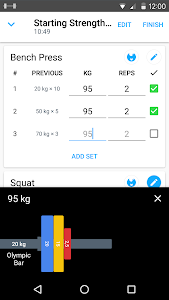 screenshot of Strong: Exercise Gym Log, 5x5 version 1.21.1
