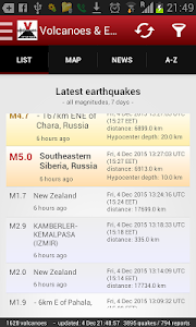 screenshot of Volcanoes & Earthquakes version 2.6.1
