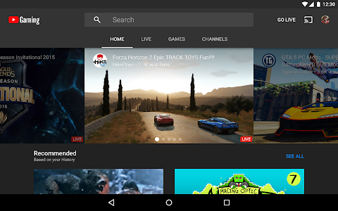 screenshot of YouTube Gaming version Varies with device